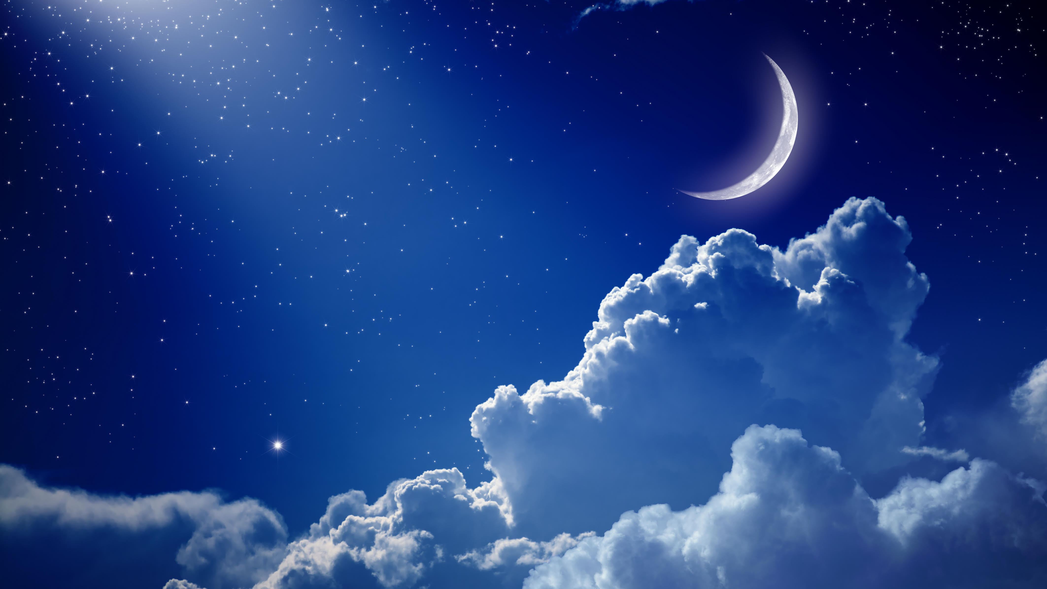 Peaceful background, blue night sky with moon